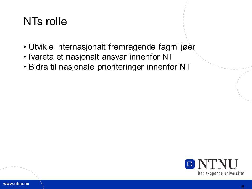 6 NTs rolle Utvikle internasjonalt fremragende fagmiljøer Ivareta et nasjonalt ansvar innenfor NT Bidra til nasjonale prioriteringer innenfor NT