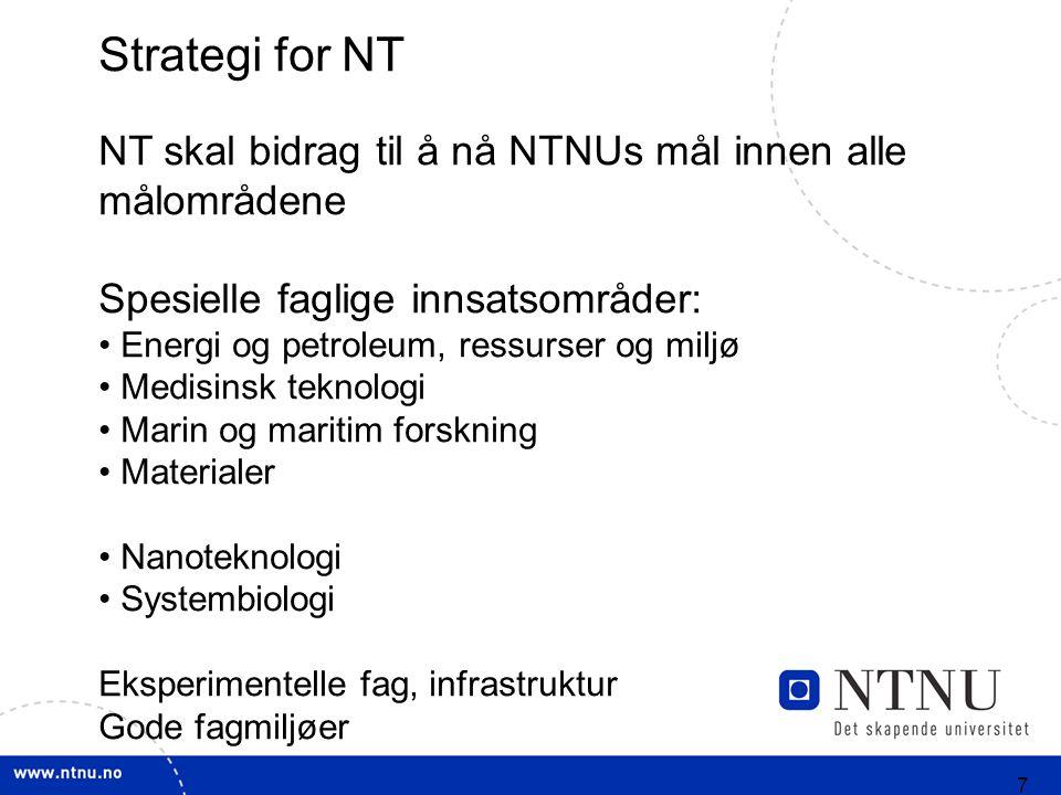 7 Strategi for NT NT skal bidrag til å nå NTNUs mål innen alle målområdene Spesielle faglige innsatsområder: Energi og petroleum, ressurser og miljø Medisinsk teknologi Marin og maritim forskning Materialer Nanoteknologi Systembiologi Eksperimentelle fag, infrastruktur Gode fagmiljøer