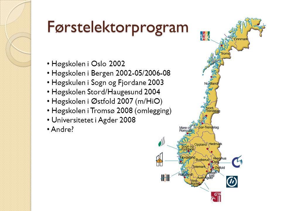Førstelektorprogram Høgskolen i Oslo 2002 Høgskolen i Bergen 2002-05/2006-08 Høgskulen i Sogn og Fjordane 2003 Høgskolen Stord/Haugesund 2004 Høgskole