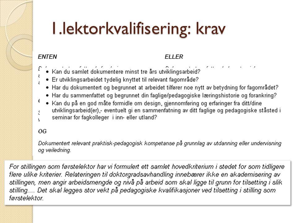 1.lektorkvalifisering: krav