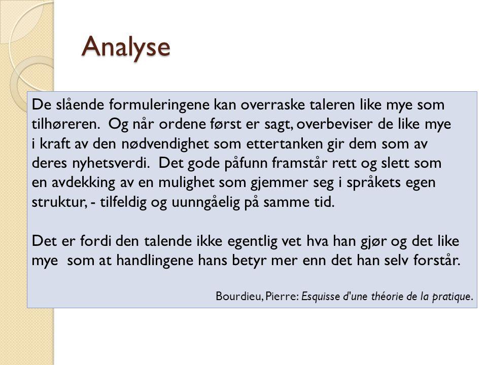 Kommentere/diskutere Analyse (1)