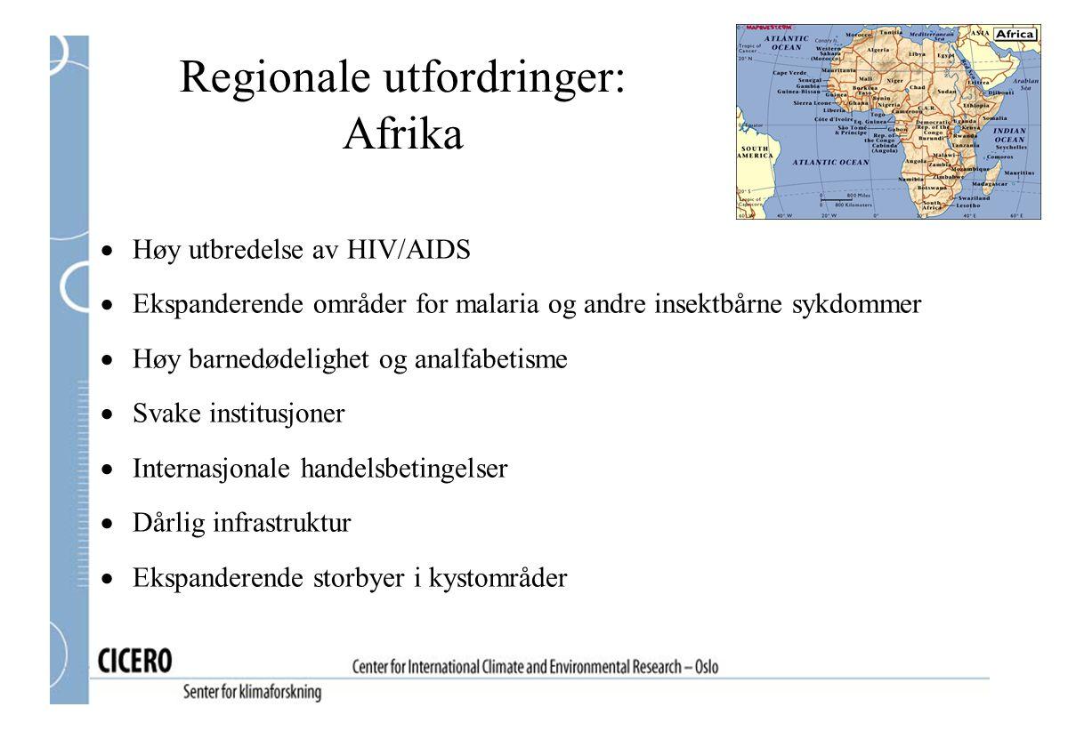 Regionale utfordringer: Afrika  Høy utbredelse av HIV/AIDS  Ekspanderende områder for malaria og andre insektbårne sykdommer  Høy barnedødelighet o