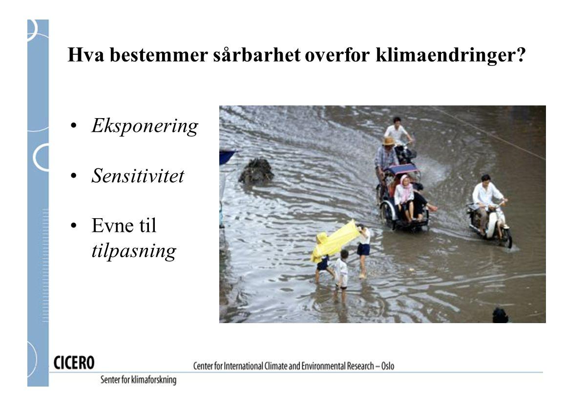 Hva bestemmer sårbarhet overfor klimaendringer? Eksponering Sensitivitet Evne til tilpasning