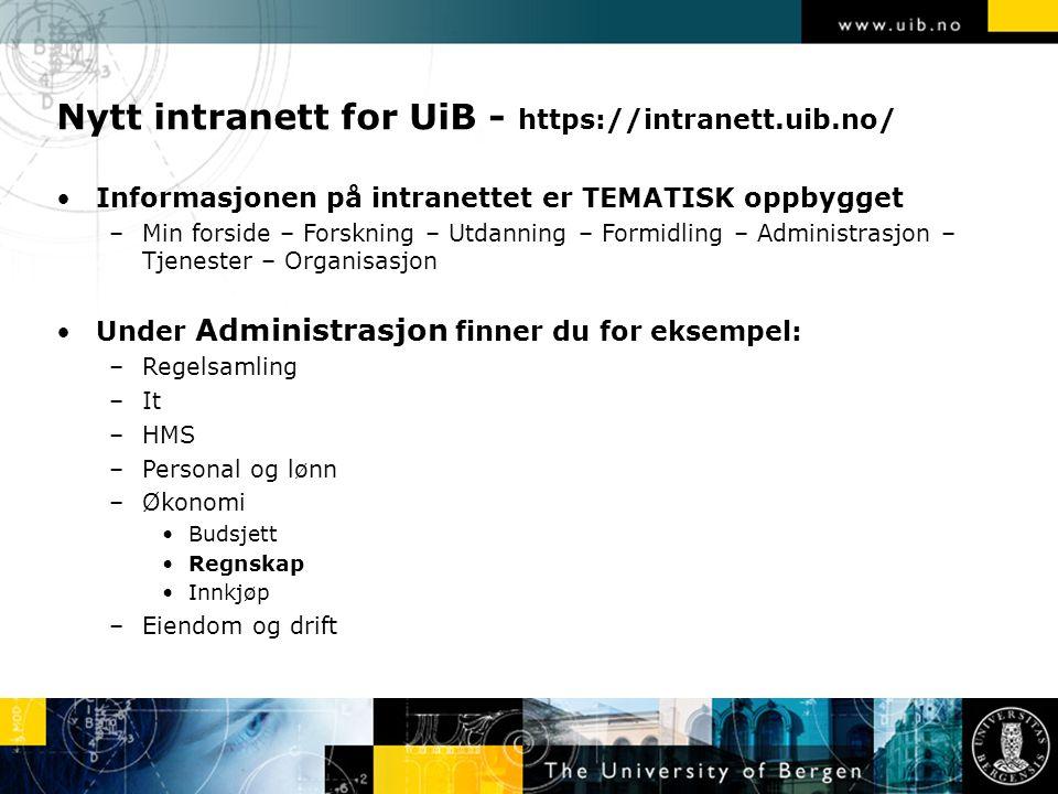 Nytt intranett for UiB - https://intranett.uib.no/ Informasjonen på intranettet er TEMATISK oppbygget –Min forside – Forskning – Utdanning – Formidlin
