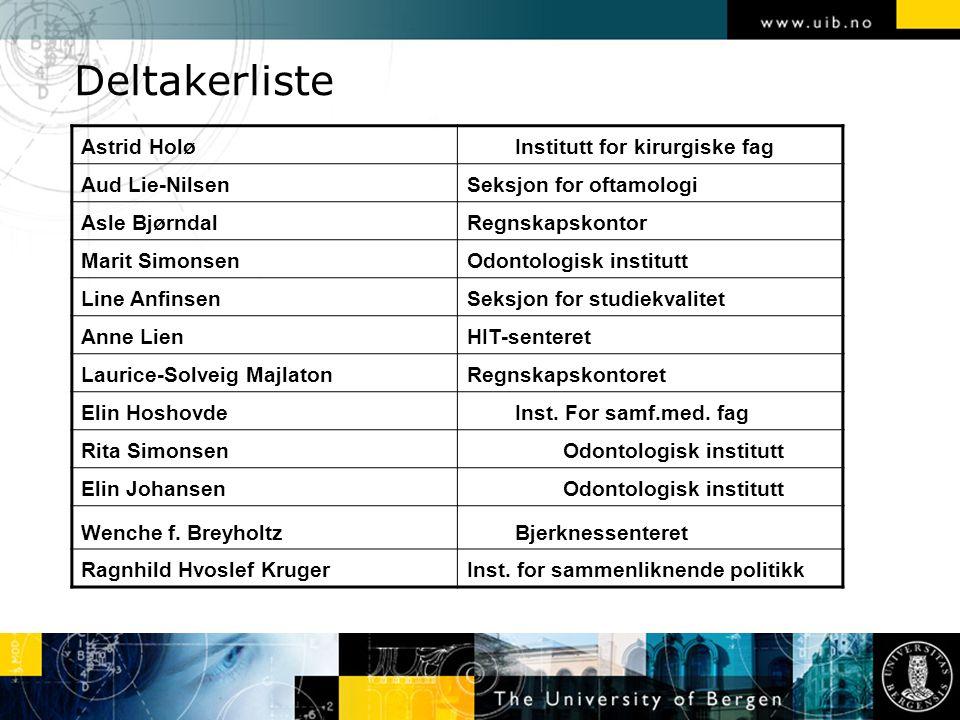 Deltakerliste Astrid HoløInstitutt for kirurgiske fag Aud Lie-NilsenSeksjon for oftamologi Asle BjørndalRegnskapskontor Marit SimonsenOdontologisk ins