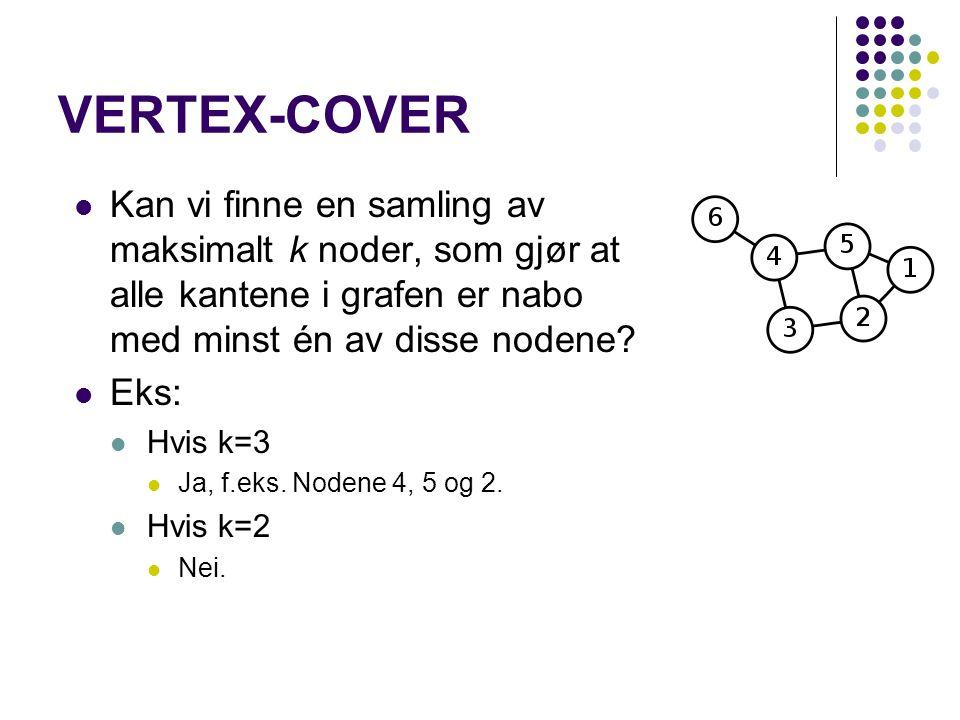 VERTEX-COVER Kan vi finne en samling av maksimalt k noder, som gjør at alle kantene i grafen er nabo med minst én av disse nodene? Eks: Hvis k=3 Ja, f