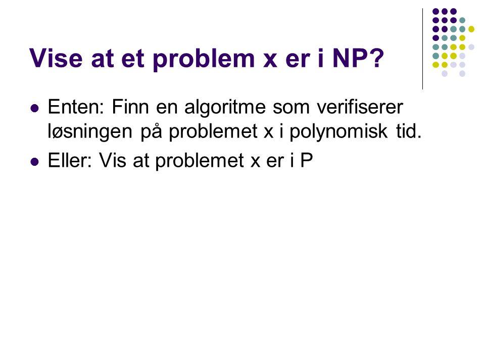 Vise at et problem x er i NP? Enten: Finn en algoritme som verifiserer løsningen på problemet x i polynomisk tid. Eller: Vis at problemet x er i P