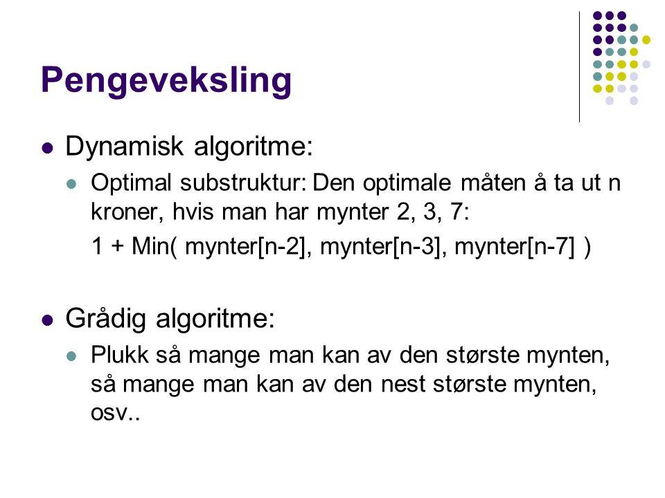 Pengeveksling Dynamisk algoritme: Optimal substruktur: Den optimale måten å ta ut n kroner, hvis man har mynter 2, 3, 7: 1 + Min( mynter[n-2], mynter[