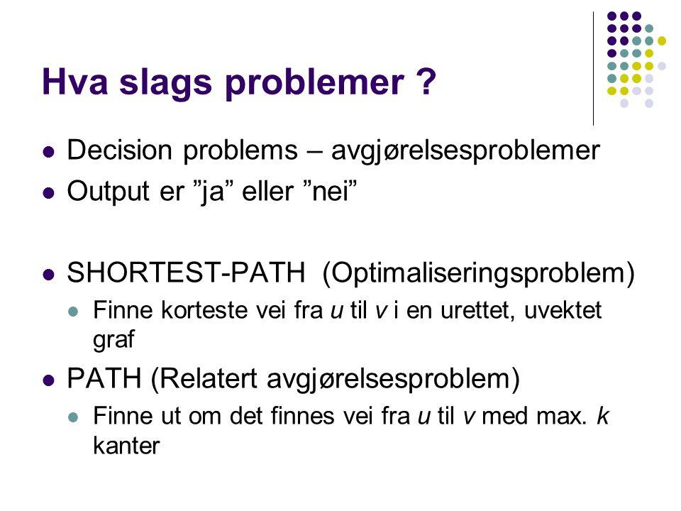 """Hva slags problemer ? Decision problems – avgjørelsesproblemer Output er """"ja"""" eller """"nei"""" SHORTEST-PATH (Optimaliseringsproblem) Finne korteste vei fr"""