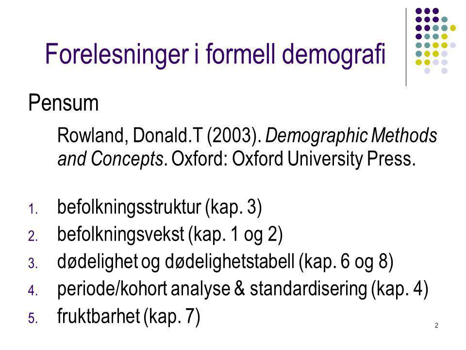 2 Forelesninger i formell demografi Pensum Rowland, Donald.T (2003).