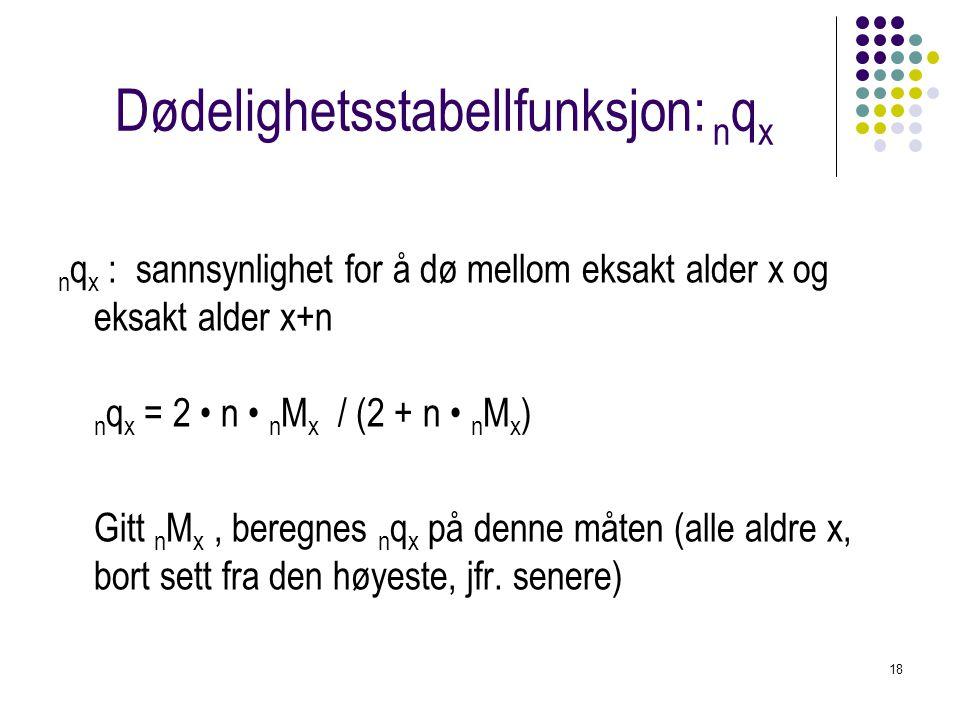 18 Dødelighetsstabellfunksjon: n q x n q x : sannsynlighet for å dø mellom eksakt alder x og eksakt alder x+n n q x = 2 n n M x / (2 + n n M x ) Gitt