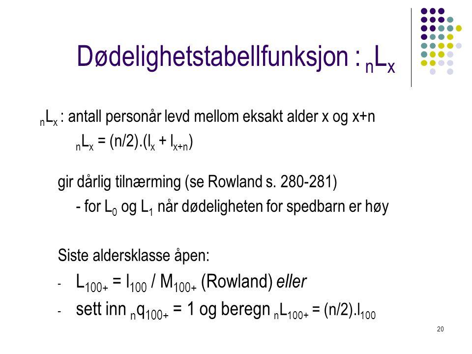 20 Dødelighetstabellfunksjon : n L x n L x : antall personår levd mellom eksakt alder x og x+n n L x = (n/2).(l x + l x+n ) gir dårlig tilnærming (se
