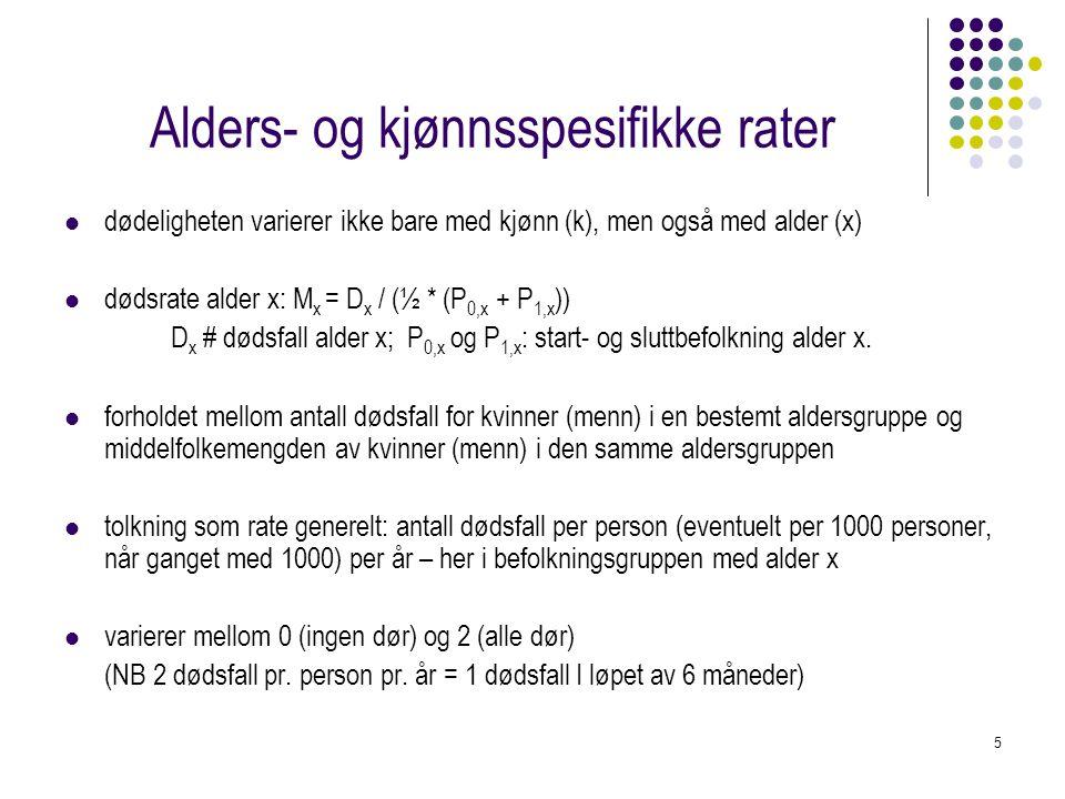 5 Alders- og kjønnsspesifikke rater dødeligheten varierer ikke bare med kjønn (k), men også med alder (x) dødsrate alder x: M x = D x / (½ * (P 0,x +