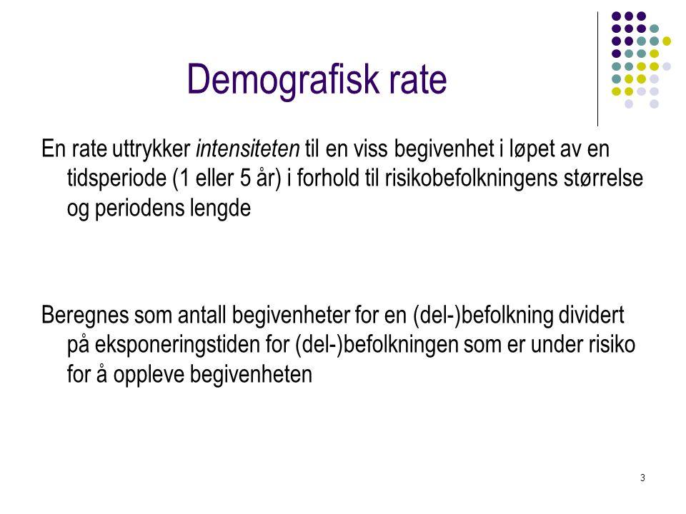 3 Demografisk rate En rate uttrykker intensiteten til en viss begivenhet i løpet av en tidsperiode (1 eller 5 år) i forhold til risikobefolkningens st