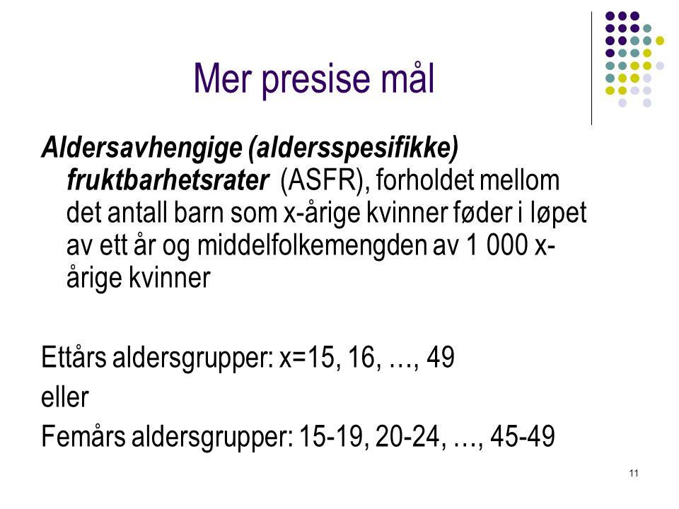 11 Mer presise mål Aldersavhengige (aldersspesifikke) fruktbarhetsrater (ASFR), forholdet mellom det antall barn som x-årige kvinner føder i løpet av ett år og middelfolkemengden av 1 000 x- årige kvinner Ettårs aldersgrupper: x=15, 16, …, 49 eller Femårs aldersgrupper: 15-19, 20-24, …, 45-49