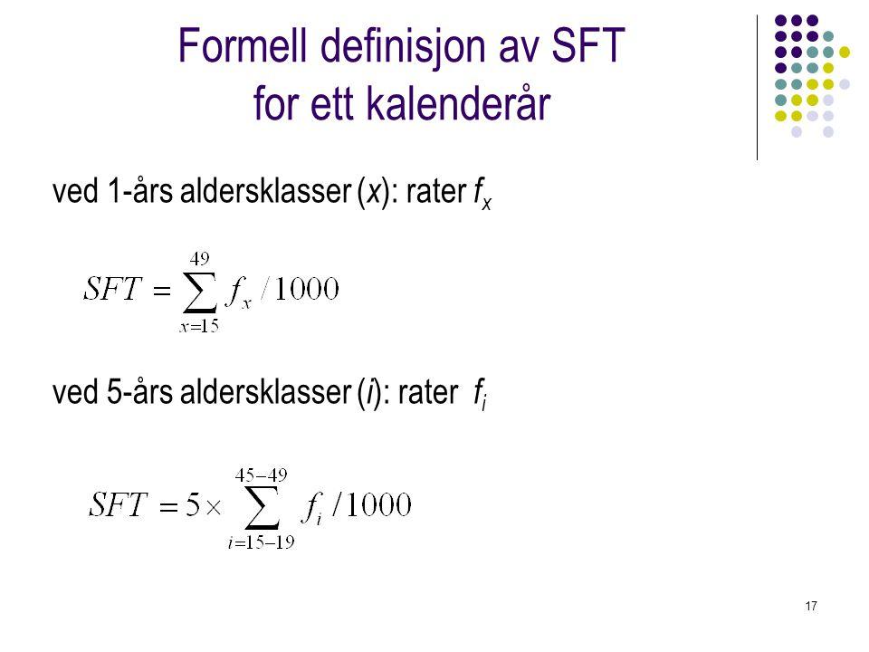 17 Formell definisjon av SFT for ett kalenderår ved 1-års aldersklasser ( x ): rater f x ved 5-års aldersklasser ( i ): rater f i