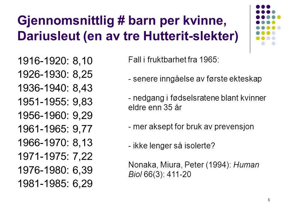 6 Gjennomsnittlig # barn per kvinne, Dariusleut (en av tre Hutterit-slekter) 1916-1920: 8,10 1926-1930: 8,25 1936-1940: 8,43 1951-1955: 9,83 1956-1960: 9,29 1961-1965: 9,77 1966-1970: 8,13 1971-1975: 7,22 1976-1980: 6,39 1981-1985: 6,29 Fall i fruktbarhet fra 1965: - senere inngåelse av første ekteskap - nedgang i fødselsratene blant kvinner eldre enn 35 år - mer aksept for bruk av prevensjon - ikke lenger så isolerte.