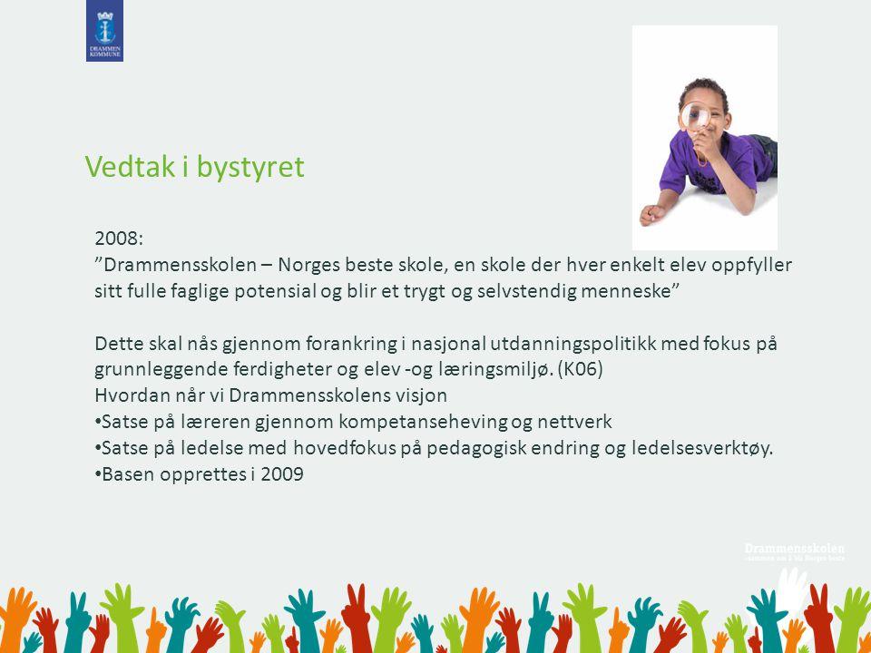 """Vedtak i bystyret 2008: """"Drammensskolen – Norges beste skole, en skole der hver enkelt elev oppfyller sitt fulle faglige potensial og blir et trygt og"""