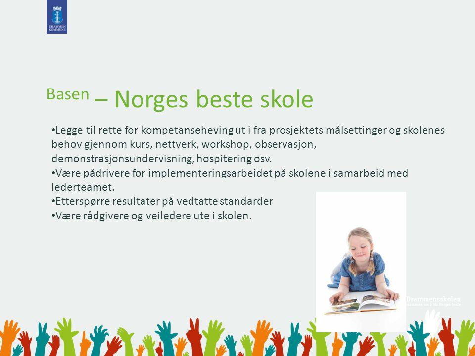 Basen – Norges beste skole Legge til rette for kompetanseheving ut i fra prosjektets målsettinger og skolenes behov gjennom kurs, nettverk, workshop,