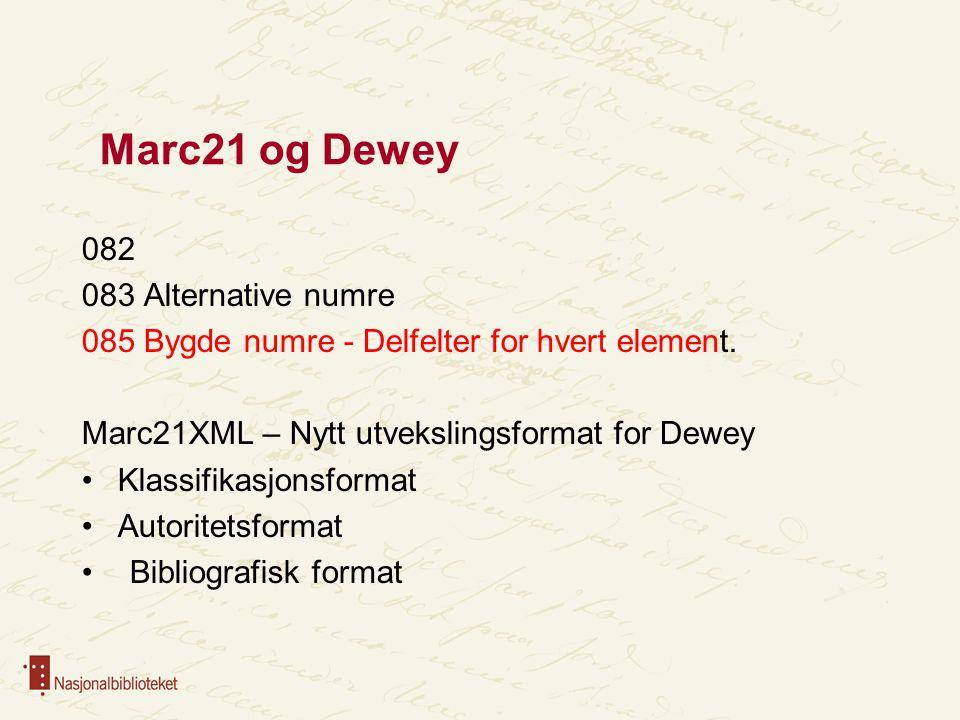 Marc21 og Dewey 082 083 Alternative numre 085 Bygde numre - Delfelter for hvert element. Marc21XML – Nytt utvekslingsformat for Dewey Klassifikasjonsf