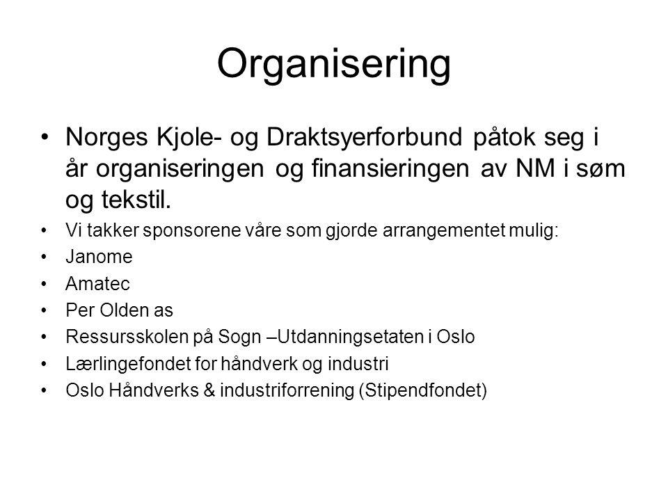 Organisering Norges Kjole- og Draktsyerforbund påtok seg i år organiseringen og finansieringen av NM i søm og tekstil.