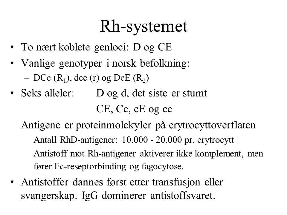 Rh-systemet To nært koblete genloci: D og CE Vanlige genotyper i norsk befolkning: –DCe (R 1 ), dce (r) og DcE (R 2 ) Seks alleler:D og d, det siste e