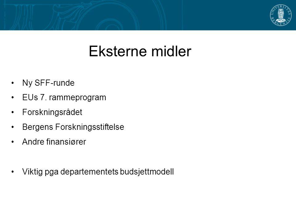 Eksterne midler Ny SFF-runde EUs 7. rammeprogram Forskningsrådet Bergens Forskningsstiftelse Andre finansiører Viktig pga departementets budsjettmodel
