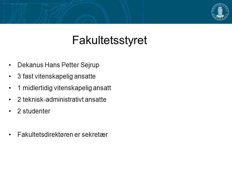 Fakultetsstyret Dekanus Hans Petter Sejrup 3 fast vitenskapelig ansatte 1 midlertidig vitenskapelig ansatt 2 teknisk-administrativt ansatte 2 studente