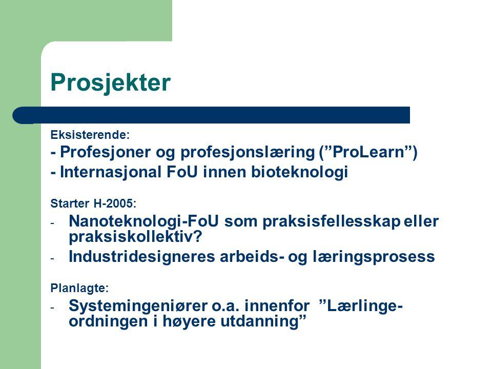 """Prosjekter Eksisterende: - Profesjoner og profesjonslæring (""""ProLearn"""") - Internasjonal FoU innen bioteknologi Starter H-2005: - Nanoteknologi-FoU som"""