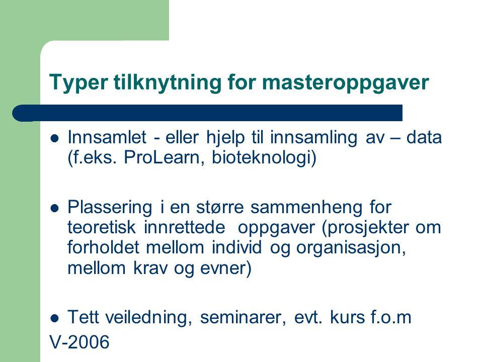 Typer tilknytning for masteroppgaver Innsamlet - eller hjelp til innsamling av – data (f.eks. ProLearn, bioteknologi) Plassering i en større sammenhen