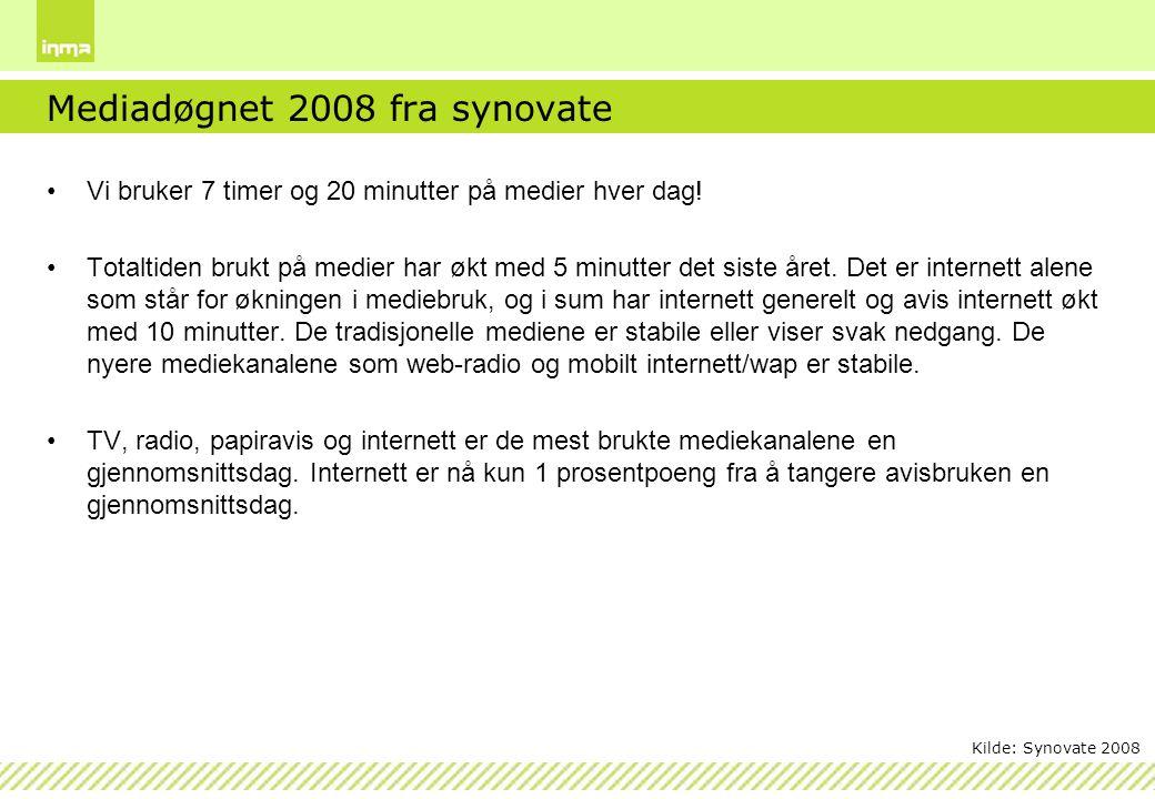Mediadøgnet 2008 fra synovate Vi bruker 7 timer og 20 minutter på medier hver dag! Totaltiden brukt på medier har økt med 5 minutter det siste året. D