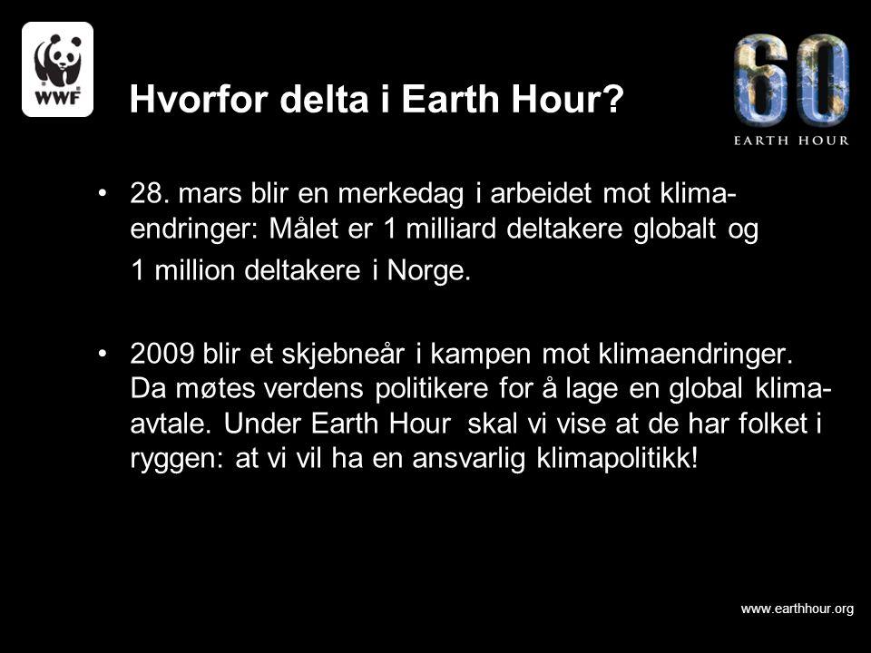 www.earthhour.org 28. mars blir en merkedag i arbeidet mot klima- endringer: Målet er 1 milliard deltakere globalt og 1 million deltakere i Norge. 200