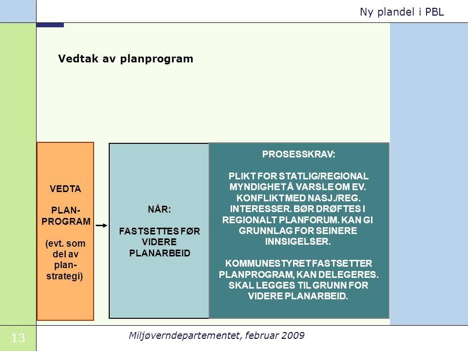 13 Miljøverndepartementet, februar 2009 Ny plandel i PBL VEDTA PLAN- PROGRAM (evt.