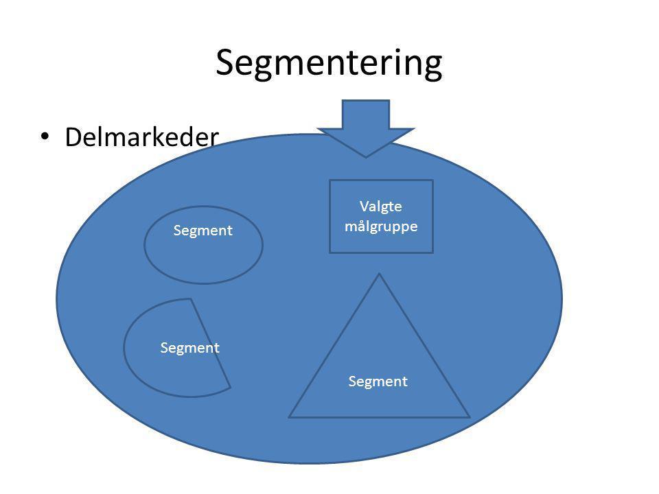 Segmentering Delmarkeder Segment Valgte målgruppe Segment