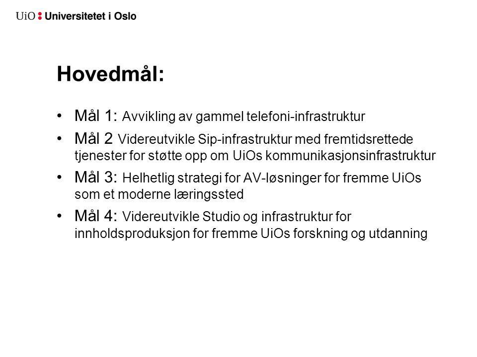 Hovedmål: Mål 1: Avvikling av gammel telefoni-infrastruktur Mål 2 Videreutvikle Sip-infrastruktur med fremtidsrettede tjenester for støtte opp om UiOs kommunikasjonsinfrastruktur Mål 3: Helhetlig strategi for AV-løsninger for fremme UiOs som et moderne læringssted Mål 4: Videreutvikle Studio og infrastruktur for innholdsproduksjon for fremme UiOs forskning og utdanning