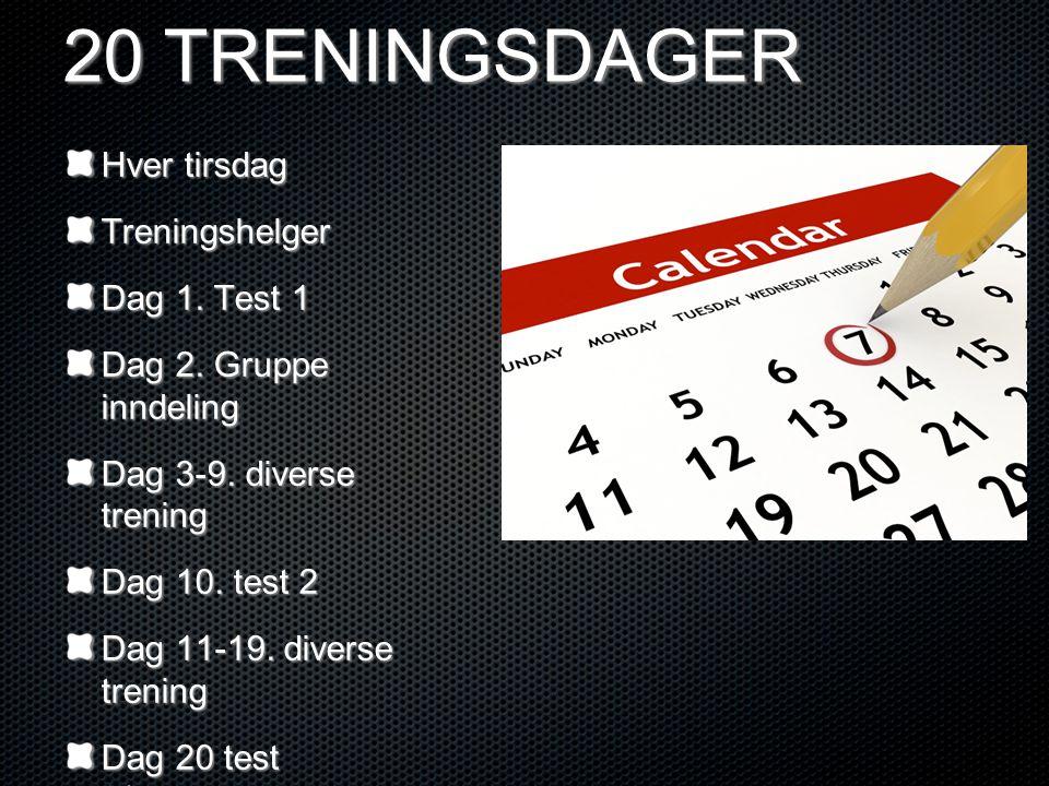 20 TRENINGSDAGER Hver tirsdag Treningshelger Dag 1. Test 1 Dag 2. Gruppe inndeling Dag 3-9. diverse trening Dag 10. test 2 Dag 11-19. diverse trening