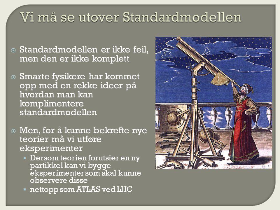  Standardmodellen er ikke feil, men den er ikke komplett  Smarte fysikere har kommet opp med en rekke ideer på hvordan man kan komplimentere standardmodellen  Men, for å kunne bekrefte nye teorier må vi utføre eksperimenter  Dersom teorien forutsier en ny partikkel kan vi bygge eksperimenter som skal kunne observere disse  nettopp som ATLAS ved LHC