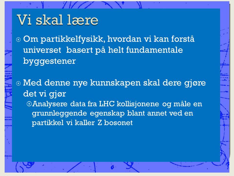  Om partikkelfysikk, hvordan vi kan forstå universet basert på helt fundamentale byggestener  Med denne nye kunnskapen skal dere gjøre det vi gjør  Analysere data fra LHC kollisjonene og måle en grunnleggende egenskap blant annet ved en partikkel vi kaller Z bosonet
