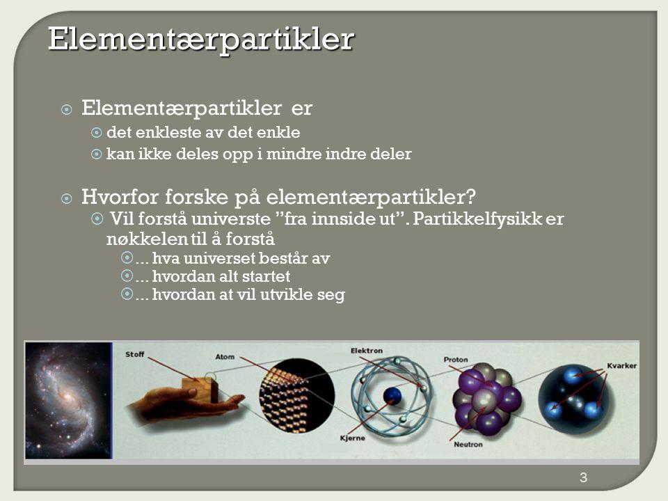 Elementærpartikler  Elementærpartikler er  det enkleste av det enkle  kan ikke deles opp i mindre indre deler  Hvorfor forske på elementærpartikler.
