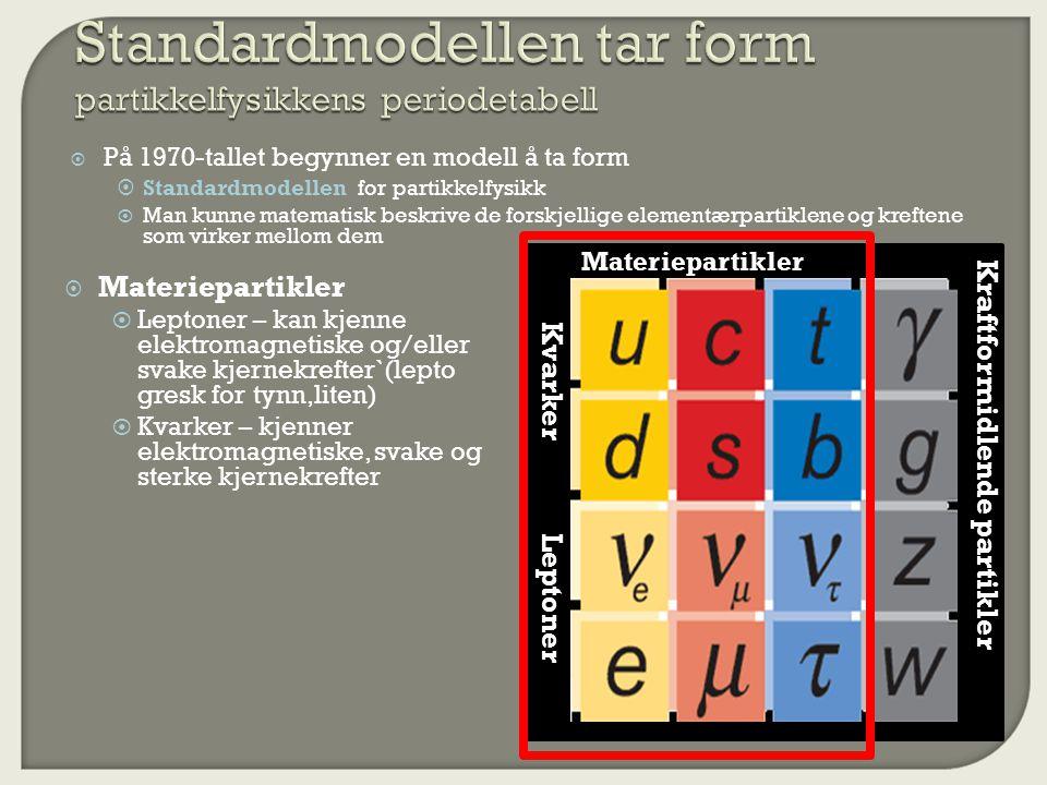  På 1970-tallet begynner en modell å ta form  Standardmodellen for partikkelfysikk  Man kunne matematisk beskrive de forskjellige elementærpartiklene og kreftene som virker mellom dem Leptoner Kvarker Materiepartikler Kraftformidlende partikler  Materiepartikler  Leptoner – kan kjenne elektromagnetiske og/eller svake kjernekrefter`(lepto gresk for tynn,liten)  Kvarker – kjenner elektromagnetiske, svake og sterke kjernekrefter