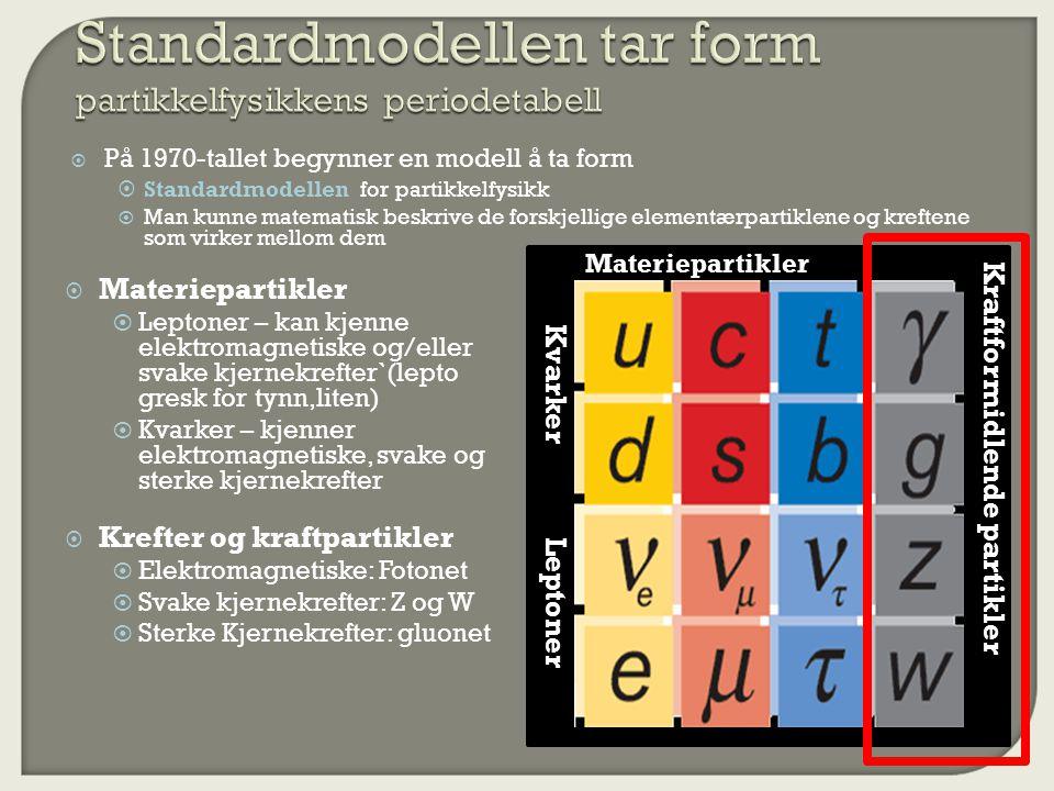  På 1970-tallet begynner en modell å ta form  Standardmodellen for partikkelfysikk  Man kunne matematisk beskrive de forskjellige elementærpartiklene og kreftene som virker mellom dem Leptoner Kvarker Materiepartikler Kraftformidlende partikler  Materiepartikler  Leptoner – kan kjenne elektromagnetiske og/eller svake kjernekrefter`(lepto gresk for tynn,liten)  Kvarker – kjenner elektromagnetiske, svake og sterke kjernekrefter  Krefter og kraftpartikler  Elektromagnetiske: Fotonet  Svake kjernekrefter: Z og W  Sterke Kjernekrefter: gluonet