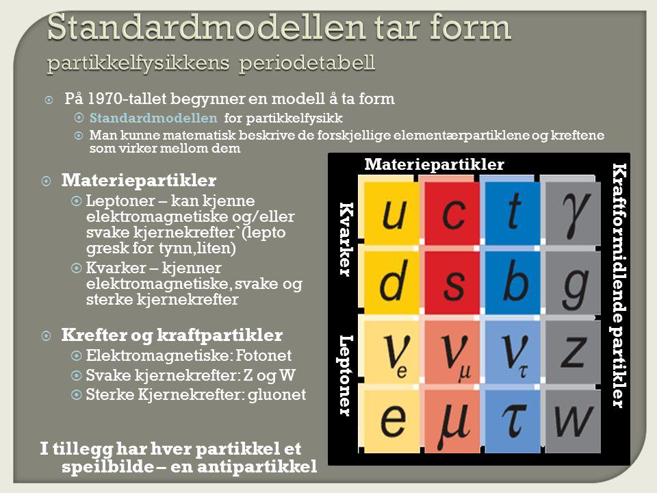  På 1970-tallet begynner en modell å ta form  Standardmodellen for partikkelfysikk  Man kunne matematisk beskrive de forskjellige elementærpartiklene og kreftene som virker mellom dem Leptoner Kvarker Materiepartikler Kraftformidlende partikler  Materiepartikler  Leptoner – kan kjenne elektromagnetiske og/eller svake kjernekrefter`(lepto gresk for tynn,liten)  Kvarker – kjenner elektromagnetiske, svake og sterke kjernekrefter  Krefter og kraftpartikler  Elektromagnetiske: Fotonet  Svake kjernekrefter: Z og W  Sterke Kjernekrefter: gluonet I tillegg har hver partikkel et speilbilde – en antipartikkel