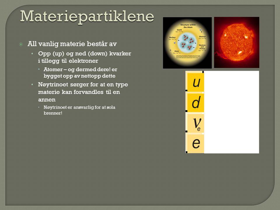  All vanlig materie består av Opp (up) og ned (down) kvarker i tillegg til elektroner  Atomer – og dermed dere! er bygget opp av nettopp dette Nøytr