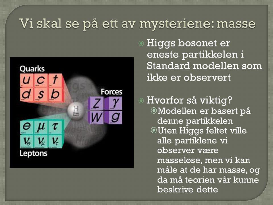  Higgs bosonet er eneste partikkelen i Standard modellen som ikke er observert  Hvorfor så viktig?  Modellen er basert på denne partikkelen  Uten