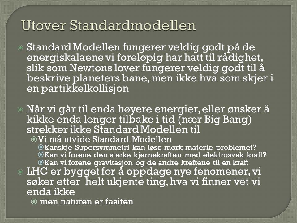  Standard Modellen fungerer veldig godt på de energiskalaene vi foreløpig har hatt til rådighet, slik som Newtons lover fungerer veldig godt til å be