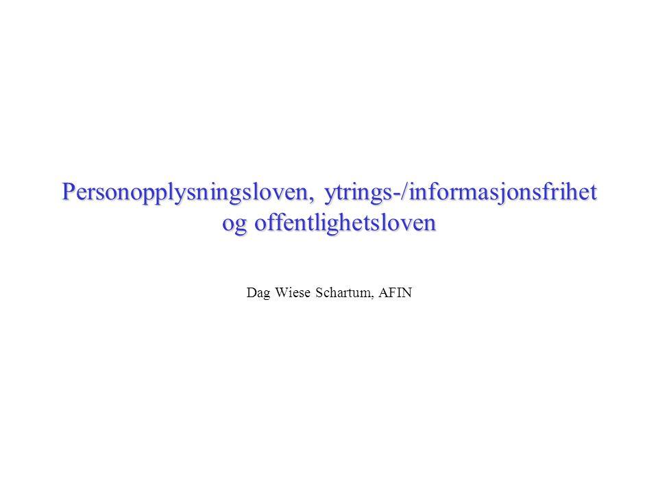 Personopplysningsloven, ytrings-/informasjonsfrihet og offentlighetsloven Dag Wiese Schartum, AFIN