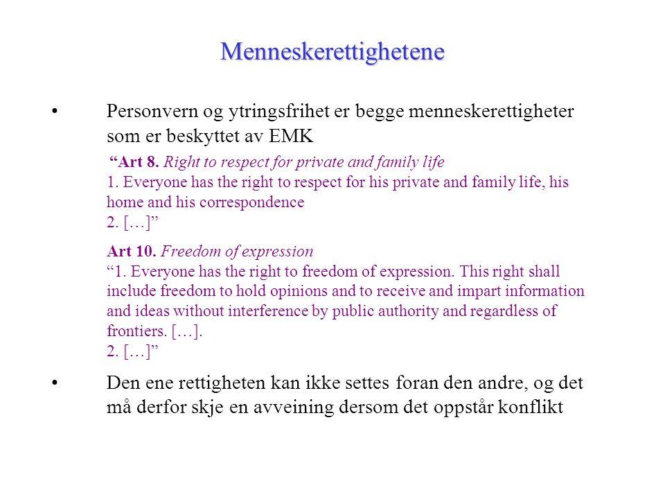 """Menneskerettighetene Personvern og ytringsfrihet er begge menneskerettigheter som er beskyttet av EMK """"Art 8. Right to respect for private and family"""