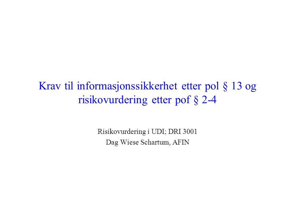 Krav til informasjonssikkerhet etter pol § 13 og risikovurdering etter pof § 2-4 Risikovurdering i UDI; DRI 3001 Dag Wiese Schartum, AFIN