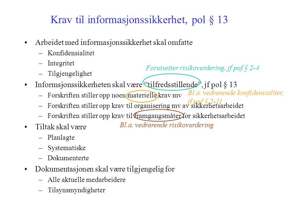 Krav til informasjonssikkerhet, pol § 13 Arbeidet med informasjonssikkerhet skal omfatte –Konfidensialitet –Integritet –Tilgjengelighet Informsjonssik