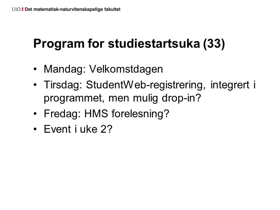 Program for studiestartsuka (33) Mandag: Velkomstdagen Tirsdag: StudentWeb-registrering, integrert i programmet, men mulig drop-in.